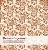 Blom- dekorativ beige sömlös textur Bakgrund med utsmyckade blommor Royaltyfria Bilder
