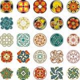 Blom- dekorativ cirkeldesignuppsättning Royaltyfri Bild