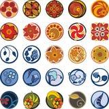 Blom- dekorativ cirkeldesignuppsättning Arkivfoton