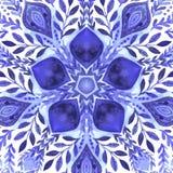Blom- dekorativ gräns för abstrakt vektor Snöra åt modelldesignen Vattenfärgprydnad på blå bakgrund Dekorativ gräns fr för vektor Royaltyfri Bild