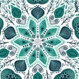 Blom- dekorativ gräns för abstrakt vektor Snöra åt modelldesignen Vattenfärgprydnad på blå bakgrund Dekorativ gräns fr för vektor Royaltyfri Foto