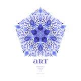 Blom- dekorativ gräns för abstrakt vektor Snöra åt modelldesignen Vattenfärgprydnad på blå bakgrund Dekorativ gräns fr för vektor Royaltyfri Fotografi