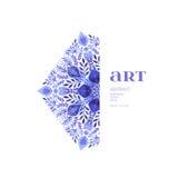 Blom- dekorativ gräns för abstrakt vektor Snöra åt modelldesignen Vattenfärgprydnad på blå bakgrund Dekorativ gräns fr för vektor Fotografering för Bildbyråer