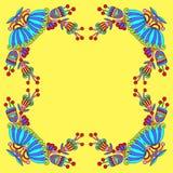 Blom- dekorativ mall med ställe för din text, orientalisk VI Arkivbilder