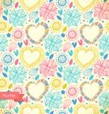 Blom- dekorativ sömlös modellklotterbakgrund Royaltyfri Bild