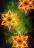 Blom- dekorativ struktur med filigranemodellmandalaen på abstrakt bakgrund Royaltyfria Bilder