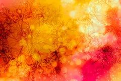 Blom- dekorativ struktur med filigranemodellmandalaen på abstrakt bakgrund vektor illustrationer