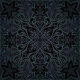 Blom- dekorativ tappningbakgrund för svarta utsmyckade blommor vektor illustrationer