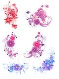 blom- dekorativa element royaltyfri illustrationer
