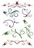blom- dekorativa element vektor illustrationer