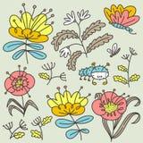 blom- dekorativa element m?nga st?llde in Isolerade blommor och sidor Vektorillustration med naturliga objekt och v?xter och butt stock illustrationer