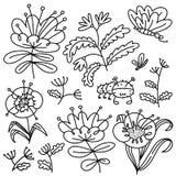 blom- dekorativa element m?nga st?llde in Isolerade blommor och sidor Vektorillustration med naturliga objekt och v?xter och butt vektor illustrationer
