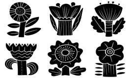 blom- dekorativa element m?nga st?llde in Konturer av abstrakta blommor och sidor Vektorillustration i minimalistic plan stil stock illustrationer
