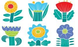 blom- dekorativa element m?nga st?llde in Samling med abstrakt begreppblommor och sidor Vektorillustration i minimalistic plan st vektor illustrationer