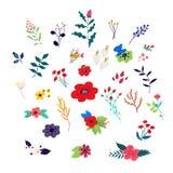 blom- dekorativa element vektor Växter i tecknad filmstil Garneringar för mars 8th Blommamodell, prydnad för tyg stock illustrationer