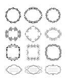 Blom- dekorativa ramar för vektortappning Royaltyfri Bild