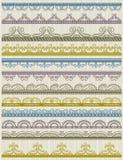 Blom- dekorativt gränsar, dekorativt härskar, divid royaltyfri illustrationer
