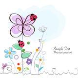 Blom- dekorativt hälsningkort med nyckelpigavektorn royaltyfri illustrationer
