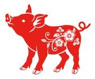 Blom- dekorativt svin - sidosikt royaltyfri illustrationer