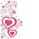Blom- dekorerat hälsningkort för valentin dag Arkivbilder