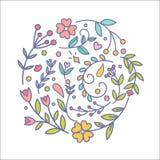 Blom- dekorupps?ttning Botaniska dekorbeståndsdelar för olik vektor Linjen slaglängdväxt och enkla krusidullar för blommor blomma royaltyfri illustrationer