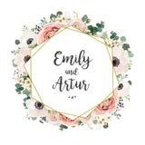 Blom- den eleganta bröllopinbjudan inviterar kortvektordesign: gar stock illustrationer