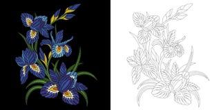 Blom- design för broderi Royaltyfri Fotografi