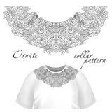 Blom- design för halstryckvektor Modevit snör åt kragen illustration royaltyfri illustrationer