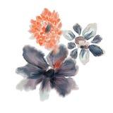 Blom- design för vattenfärg Arkivfoto