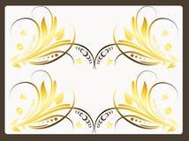 Blom- design i guld- färg Fotografering för Bildbyråer