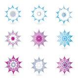 Blom- detaljerade dekorativa element för diagramdesign royaltyfri illustrationer