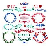 Blom- dragen som dekoruppsättning för vektor av handen målas royaltyfri illustrationer