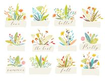 Blom- emblem för vektor stock illustrationer