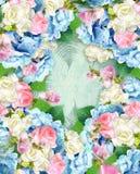 Blom- etikett för skönhet Den eleganta räkningen över grungebakgrund med vanliga hortensian och steg blommor greeting lyckligt ny Royaltyfria Bilder