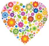 Blom- färgrik hjärta och fjäril Royaltyfri Bild