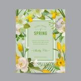 Blom- färgrik ram för tappning - för inbjudan royaltyfri fotografi