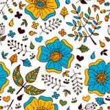 Blom- färgrik sömlös modell för vektor med hand drog klotterbeståndsdelar Royaltyfri Fotografi