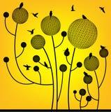 Blom- fågel- och bolltree Royaltyfri Bild