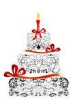 blom- födelsedagcake stock illustrationer