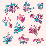 Blom- för klottertappning för blomma uppsättning isolerad vit beståndsdel royaltyfri illustrationer