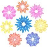 Blom- för konstnärliga geometriska blommor för vektor färgrikt stock illustrationer