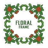 Blom för ramar för rosenkrans för vektorillustrationkonstverk röda stock illustrationer