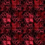Blom- för sömlös passion för patchwork snör åt rött svart dekorativ patt Arkivfoton