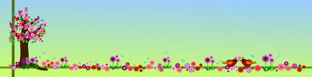 blom- fjäder för baner Royaltyfri Fotografi