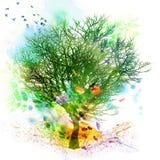 Blom- fjädra och sommardesignen, vattenfärgmålning Royaltyfria Foton