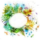 Blom- fjädra och sommardesignen, vattenfärgmålning Fotografering för Bildbyråer