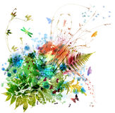 Blom- fjädra och sommardesignen, vattenfärgmålning Arkivbilder