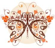 blom- fjäril vektor illustrationer