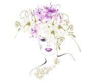 blom- flicka Vektor Illustrationer