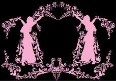 blom- flickapink för garnering stock illustrationer